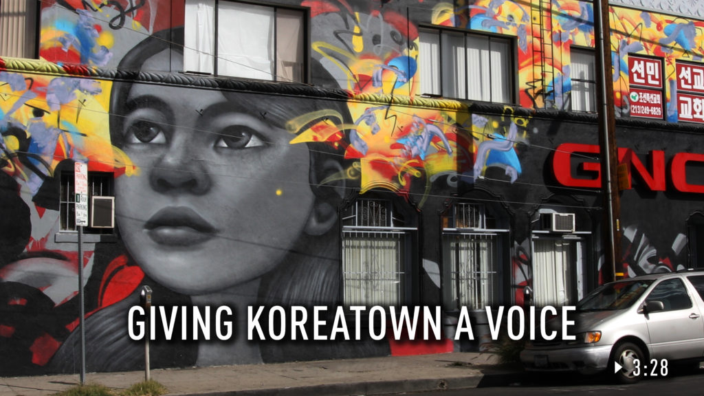 A mural of a woman in Koreatown.