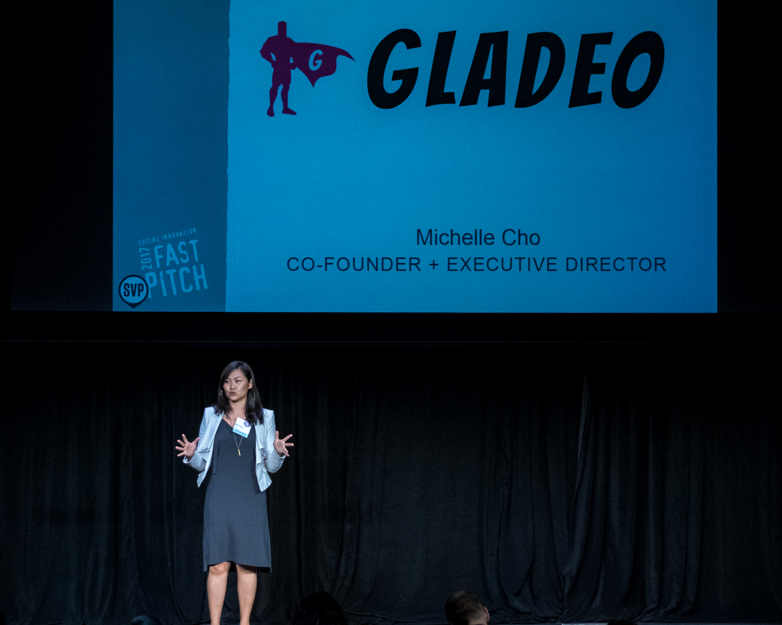 Michelle Cho at the SVPLA fast pitch competition.